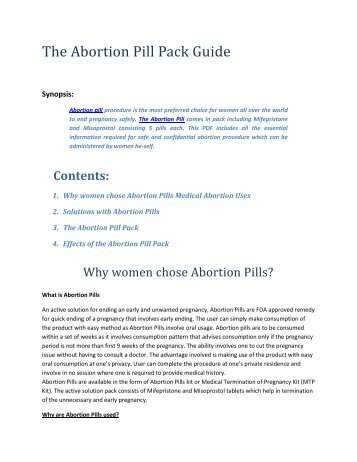 The Abortion Pill Pack Guide