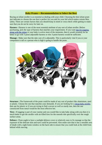 Baby Prams—Recommendation to Select the Best