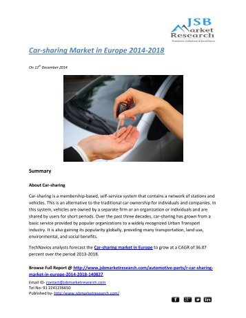 "car sharing market in europe 2014 2018 Car sharing market to hit $165bn by 2024: global market insights inc ""china car sharing market share is predicted to grow significantly with cagr of over 40% from 2016 to 2024 owing to the."