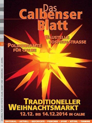 Calbenser Blatt Ausgabe Dezember 2014