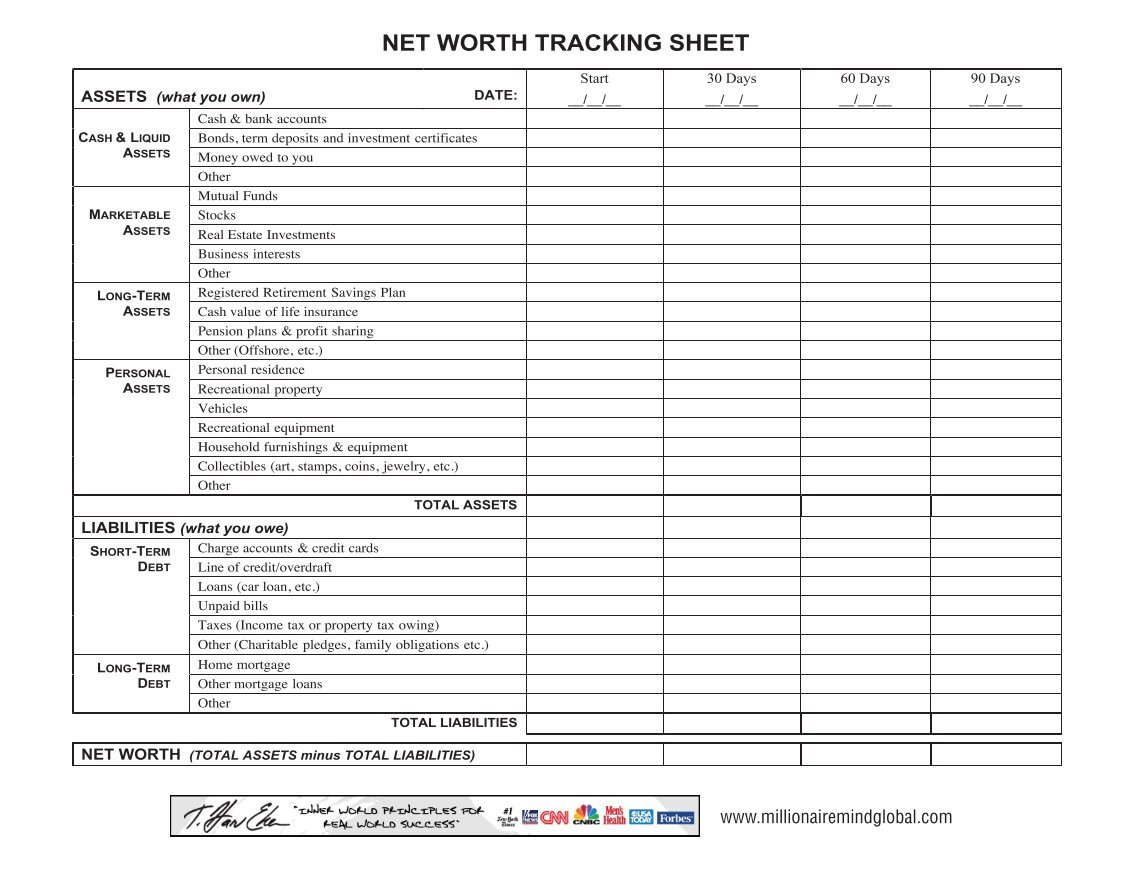 net worth tracking sheet
