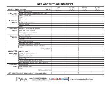 net worth tracking sheet