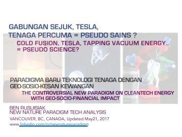 Gabungan sejuk, Tesla, Tenaga Percuma = Pseudo Sains ? /  Cold fusion, Tesla, Free Energy = Pseudo Science?
