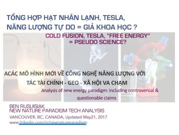 Tổng hợp hạt nhân lạnh, Tesla, Năng lượng tự do = Giả khoa học ?   /  Cold fusion, Tesla, Free energy = Pseudo science?