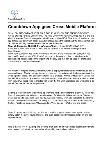 Countdown App goes Cross Mobile Plaform