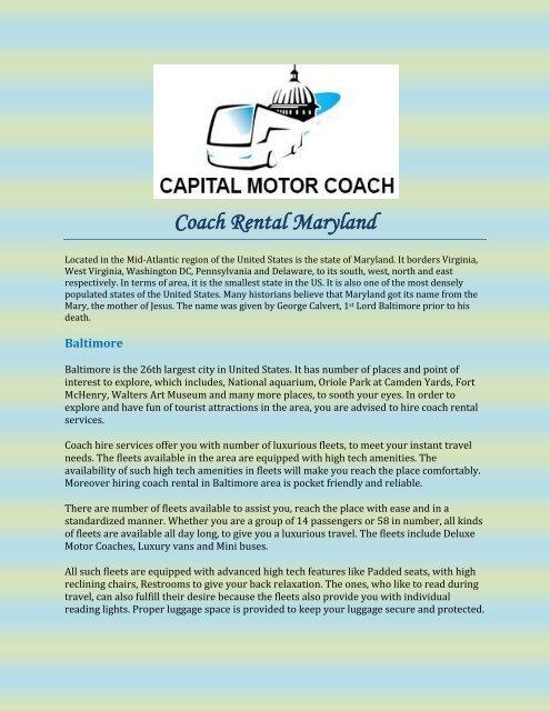 Coach Rental Maryland