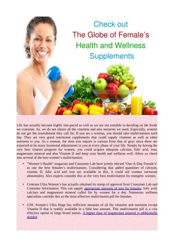 Check out The Globe of Female's Health and Wellness Supplements