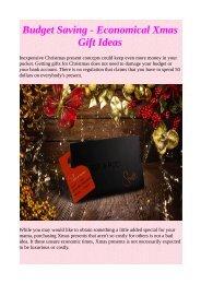 Budget Saving - Economical Xmas Gift Ideas