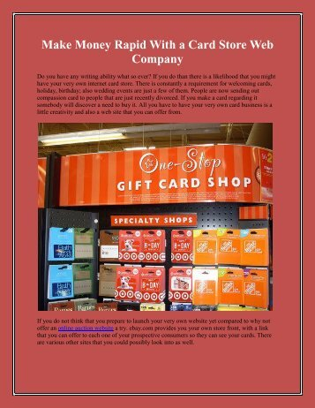 Make Money Rapid With a Card Store Web Company