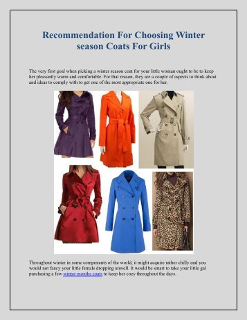Recommendation For Choosing Winter season Coats For Girls
