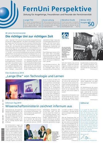 """FernUni Hochschulzeitung """"Perspektive"""", Ausgabe 50, Winter 2014"""