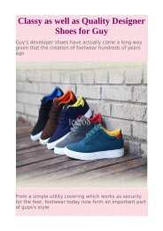 Classy as well as Quality Designer Shoes for Guy