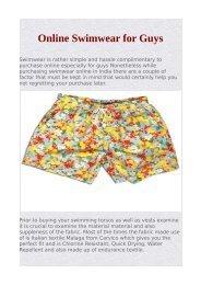 Online Swimwear for Guys