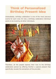 Think of Personalized Birthday Present Idea