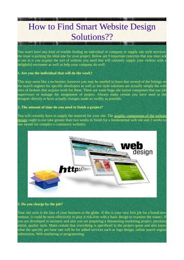 How to Find Smart Website Design Solutions??