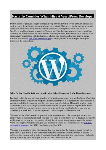 Facts To Consider When Hire A WordPress Developer