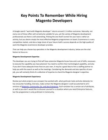 Key Points To Remember While Hiring Magento Developers