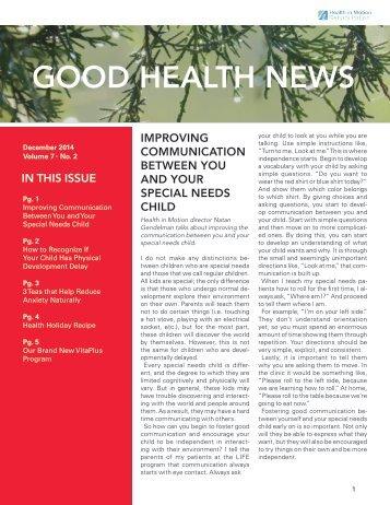 GOOD HEALTH NEWS