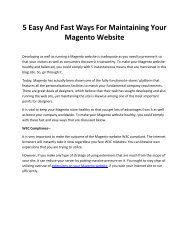 5 Easy And Fast Ways For Maintaining Your Magento Website