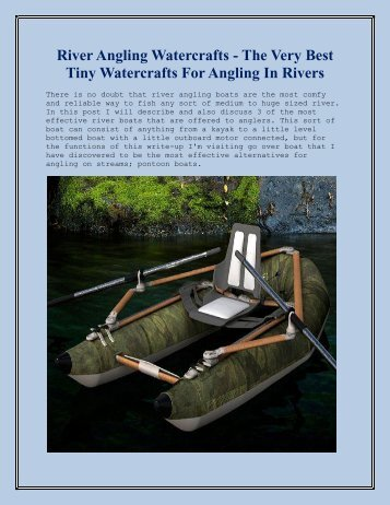 River Angling Watercrafts - The Very Best Tiny Watercrafts For Angling In Rivers