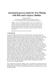 Automated process chain for Text Mining with RSS and Corpora ...