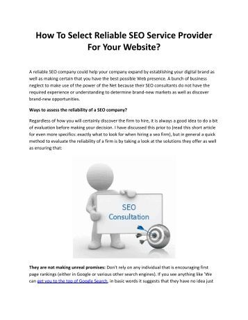 How To Select Reliable SEO Service Provider For Your Website?