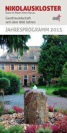 Nikolauskloster - Jahresprogramm 2015