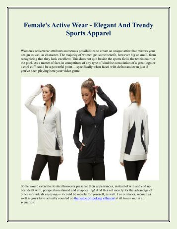 Female's Active Wear - Elegant And Trendy Sports Apparel