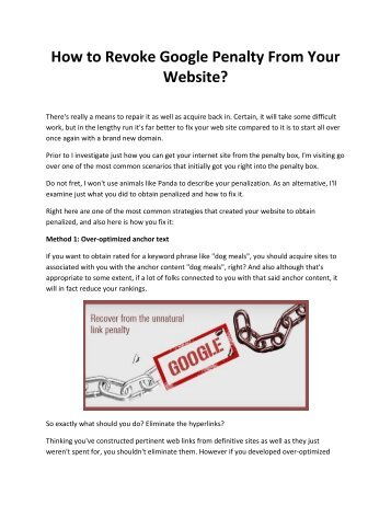 How to Revoke Google Penalty From Your Website?
