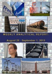 Weekly analytical report: August 26 - September 1, 2013