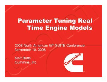 Parameter Tuning Real Time Engine Models - Gamma Technologies