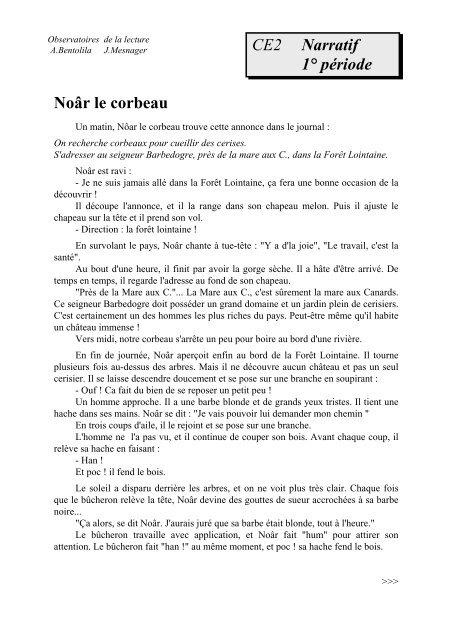 Le Corbeau Et Le Renard Texte Narratif
