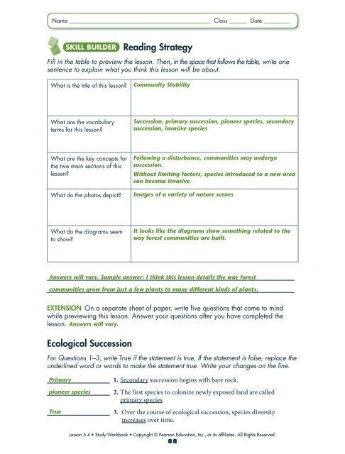 study guide answer key ecology