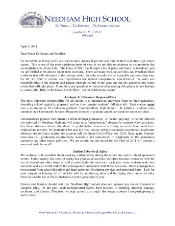Senior Letter - Needham High School - Needham Public Schools