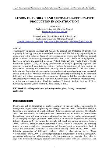 FUSION OF PRODUCT AND AUTOMATED-REPLICATIVE - IAARC
