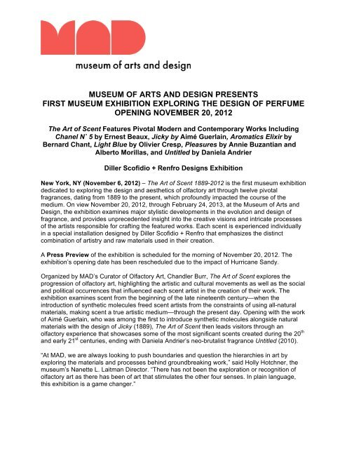 The Art Of Scent Press Release Museum Of Arts And Design