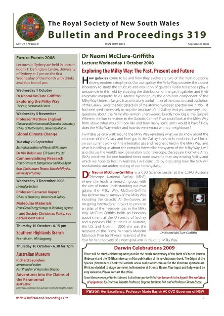 Dr Naomi McClure-Griffiths - Royal Society of New South Wales