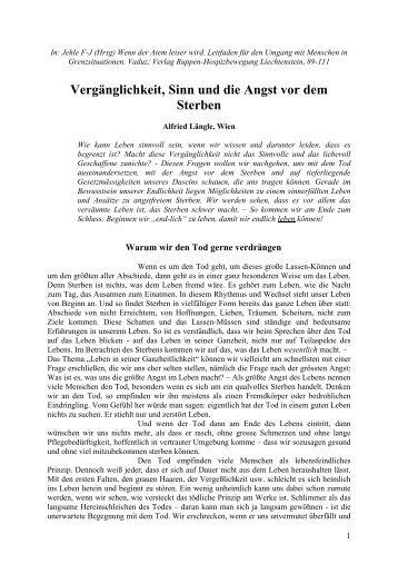 Vergänglichkeit, Sinn und die Angst vor dem Sterben - laengle.info