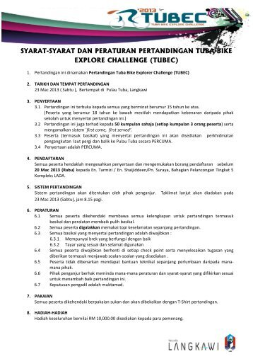 syarat-syarat dan peraturan pertandingan tuba bike explore challenge