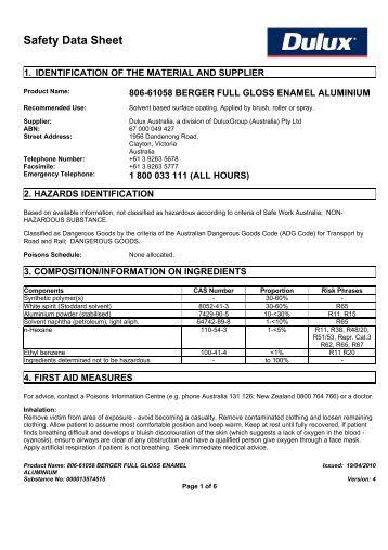 Safety Data Sheet Dulux Paint