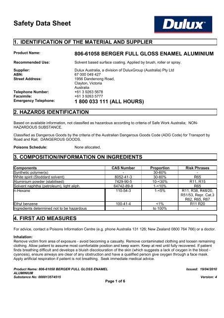berger full gloss enamel aluminium - MSDS - DuluxGroup