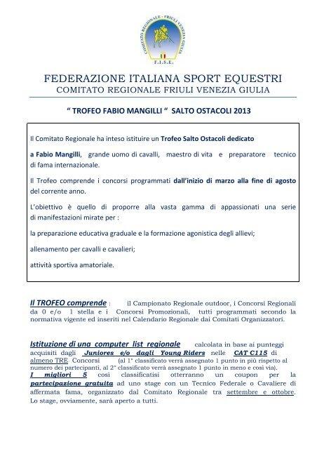 Fise Calendario Regionale.Programma Trofeo Mangilli 2013 Fisetrieste It