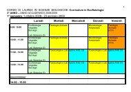 1° semestre: 1 ottobre 2008 - Corso di Laurea in Biologia