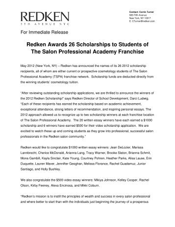 Scholarship Press Release - The Salon Professional Academy