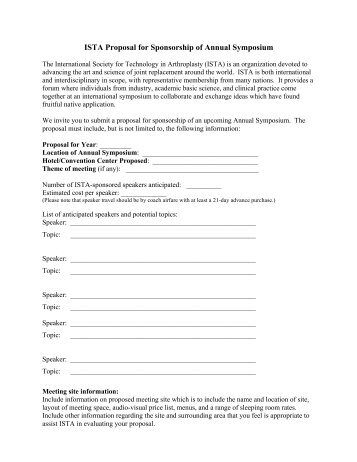 ISTA Proposal for Sponsorship of Annual Symposium