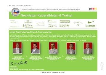 Newsletter Kaderathleten & Trainer - BGKV
