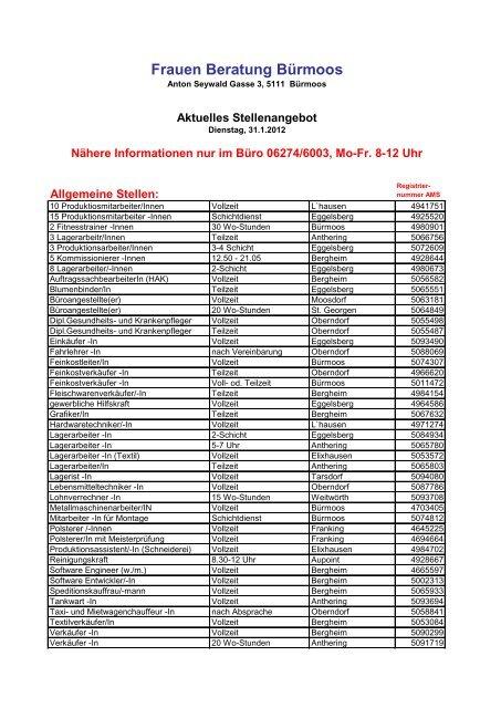 Dringend! Lehrstelle Stellenangebote in Brmoos - Juni 2020