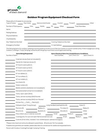 Download Equipment Checkout Form.