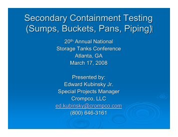 Secondary Containment Testing (Sumps, Buckets, Pans ... - NEIWPCC
