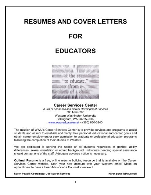 Resumes and Cover Letters for Educators - Western Washington ...